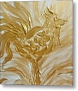 Abstract Golden Rooster Metal Print