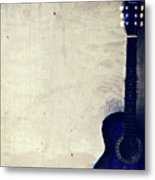 Abstract Guitar In The Foreground Close Up On Watercolor Painting Background. Metal Print