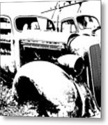 Abstract High Contrast Old Car Metal Print