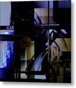 Abstract In Blue-dark Towers Metal Print