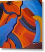 Abstract In Orange And Blue Metal Print