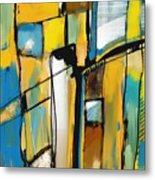 Abstract In Yellow And Blue Metal Print