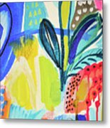 Abstract Jungle And Wild Flowers Metal Print