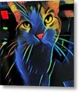Abstract Kitty Metal Print
