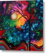 Abstract Landscape Bold Colorful Painting Metal Print by Megan Duncanson