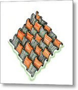 Abstract Line Design In Black And Orange Metal Print
