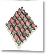 Abstract Line Design In Black And Red Metal Print