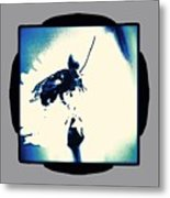 Abstract Look Of Bee On White Flower Metal Print