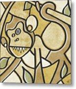 Funky Monkey - Zeeko Abstract Monkey Metal Print