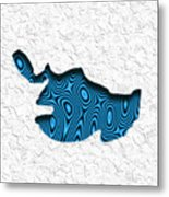 Abstract Monster Cut-out Series - Blue Swimmer Metal Print