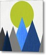 Abstract Mountains And Sun Metal Print