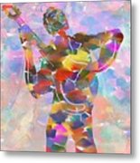 Abstract Musican Guitarist Metal Print