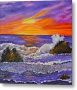 Abstract Ocean- Oil Painting- Puple Mist- Seascape Painting Metal Print