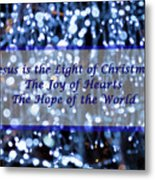 Abstract Of Blue Lights Text Metal Print