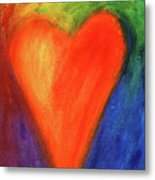 Abstract Orange Heart 1 Metal Print