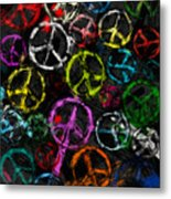 Abstract Peace Signs Collage Metal Print