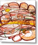 Abstract Pen Drawing Eight Metal Print