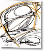 Abstract Pen Drawing Four Metal Print