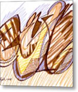 Abstract Pen Drawing Nine Metal Print