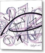 Abstract Pen Drawing Thirty-six Metal Print