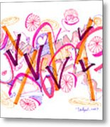 Abstract Pen Drawing Twenty-six Metal Print