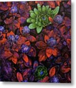 Abstract Purple Flowers Metal Print