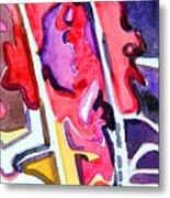 Abstract Red Bud Metal Print
