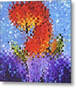 Abstract Red Flowers - Pieces 5 - Sharon Cummings Metal Print