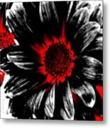 Abstract Red White And Black Daisy Metal Print