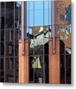 Abstract Reflections In Glass Metal Print