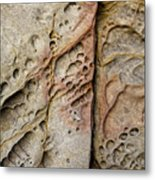 Abstract Rock Stained With Red And Gold Metal Print