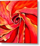 Abstract Rosebud Fire Orange Metal Print
