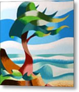 Abstract Rough Futurist Cypress Tree Metal Print
