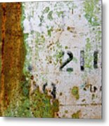 Rust Absract With Stenciled Numbers Metal Print