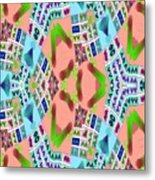 Abstract Seamless Pattern - Blue Pink Green Purple Metal Print