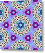 Abstract Seamless Pattern  - Blue Purple Pink Violet Lilac Orange Green Metal Print