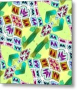 Abstract Seamless Pattern  - Yellow Green Purple Blue Gray White Metal Print