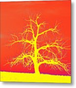 Abstract Single Tree Yellow-orange Metal Print