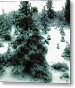 Abstract Snowy Trees Lighter Metal Print