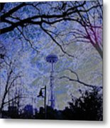 Abstract Space Needle Metal Print