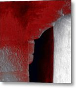 Abstract Square Red Black White Grey Textured Window Alcove 2a Metal Print