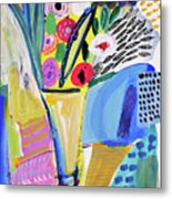 Abstract Still Life With Flowers Metal Print