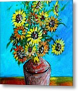 Abstract Sunflowers W/vase Metal Print
