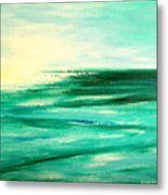 Abstract Sunset In Blue And Green Metal Print