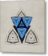 Abstract Triangle Blue Pattern Metal Print