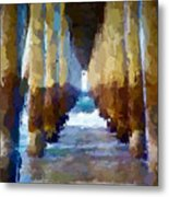 Abstract Under Pier Beach Metal Print