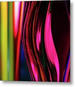 Abstract Verticle Shapes In Green And Red Metal Print