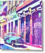 Abstract Watercolor - Havana Cuba Classic Car I Metal Print