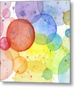 Abstract Watercolor Rainbow Circles Metal Print