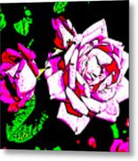 Abstract White Red And Pink Roses Metal Print